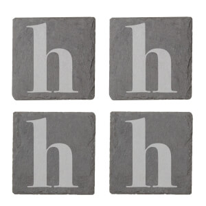Lowercase H Engraved Slate Coaster Set
