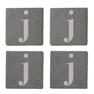Lowercase J Engraved Slate Coaster Set