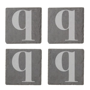Lowercase Q Engraved Slate Coaster Set from I Want One Of Those