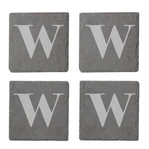 Lowercase W Engraved Slate Coaster Set