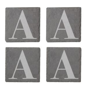 Uppercase Letter Engraved Slate Coaster Set