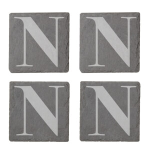 Uppercase N Engraved Slate Coaster Set