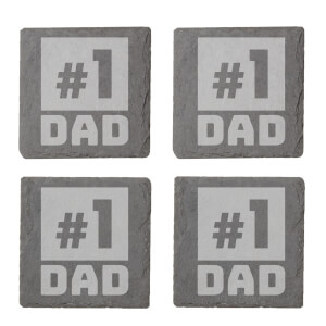 #1 Dad Engraved Slate Coaster Set