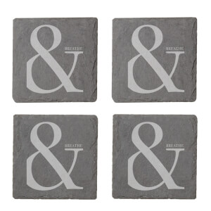 & Breathe Engraved Slate Coaster Set