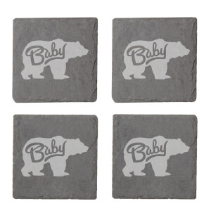 Baby Bear Engraved Slate Coaster Set