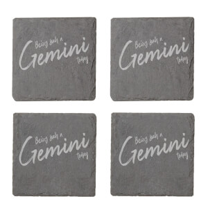 Being Such A Gemini Today Engraved Slate Coaster Set
