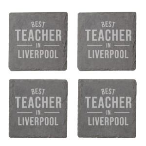 Best Teacher In Liverpool Engraved Slate Coaster Set