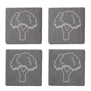 Broccoli Engraved Slate Coaster Set