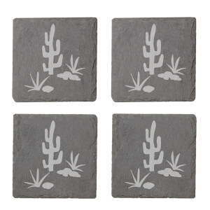 Cactus Scene Engraved Slate Coaster Set