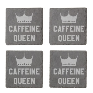 Caffeine Queen Engraved Slate Coaster Set