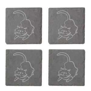 Cat Engraved Slate Coaster Set