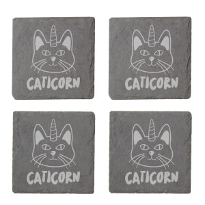 Caticorn Engraved Slate Coaster Set