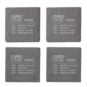 Dad Level Engraved Slate Coaster Set