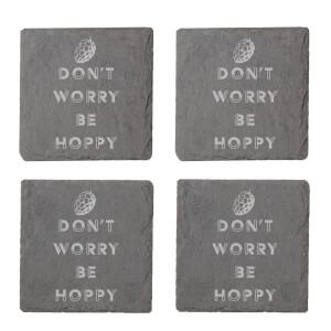 Don't Worry Be Hoppy Engraved Slate Coaster Set