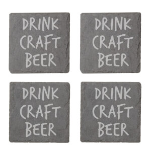 Drink Craft Beer Engraved Slate Coaster Set
