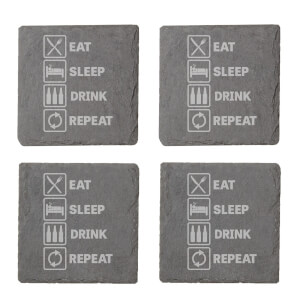 Eat, Sleep, Drink & Repeat Engraved Slate Coaster Set