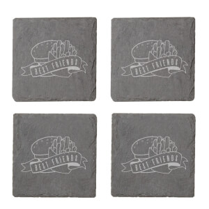 Fast Food Best Friends Engraved Slate Coaster Set