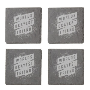 Floral Worlds Okayest Friend Engraved Slate Coaster Set