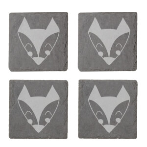 Fox Engraved Slate Coaster Set