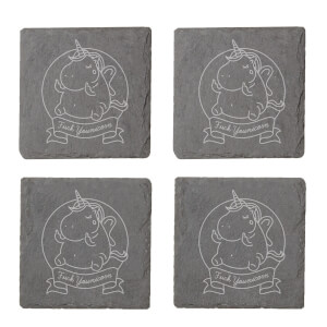Fuck Younicorn Engraved Slate Coaster Set