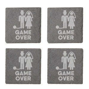 Game Over Groom Engraved Slate Coaster Set