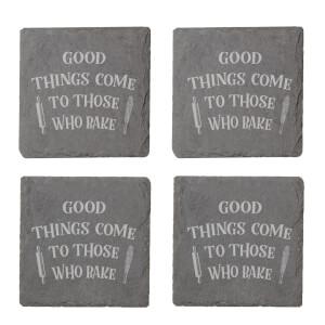 Good Things Engraved Slate Coaster Set