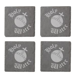 Holy Water Engraved Slate Coaster Set