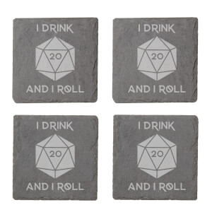 I Drink And I Roll D20 Engraved Slate Coaster Set