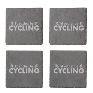 I'd Rather Be Cycling Engraved Slate Coaster Set