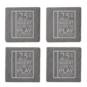 Insert Coin Engraved Slate Coaster Set