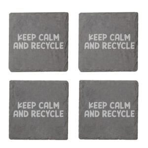 Keep Calm And Recycle Engraved Slate Coaster Set