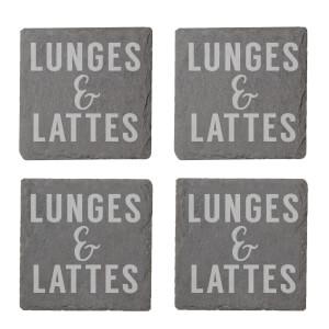 Lunges & Lattes Engraved Slate Coaster Set