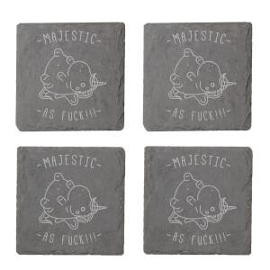 Majestic As Fuck Engraved Slate Coaster Set
