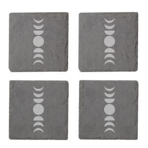 Moon Phases Engraved Slate Coaster Set