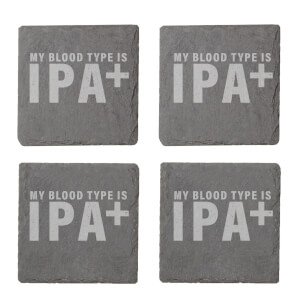 My Blood Type Is IPA+ Engraved Slate Coaster Set