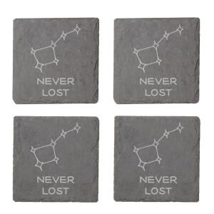 Never Lost Engraved Slate Coaster Set