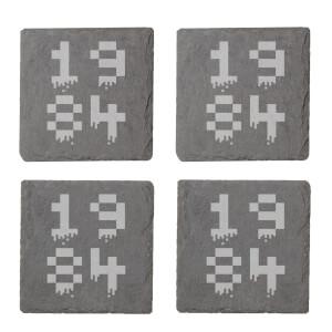 Pixel 1984 Engraved Slate Coaster Set