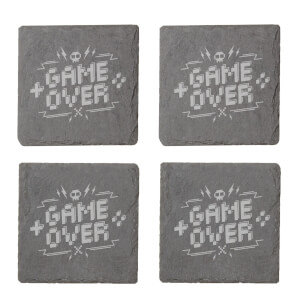 Pixel Game Over Engraved Slate Coaster Set