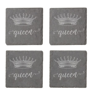 Queen Engraved Slate Coaster Set