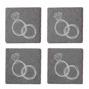 Rings Engraved Slate Coaster Set