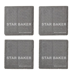 Star Baker With A Hand Shake Engraved Slate Coaster Set