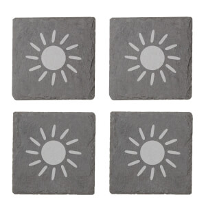 Sun Engraved Slate Coaster Set