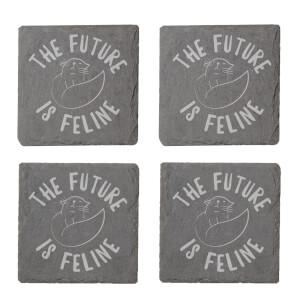 The Future Is Feline Engraved Slate Coaster Set