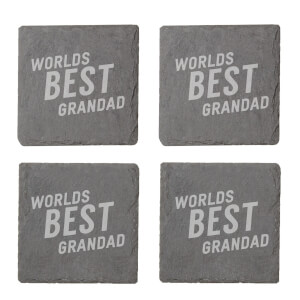 Worlds Best Grandad Engraved Slate Coaster Set