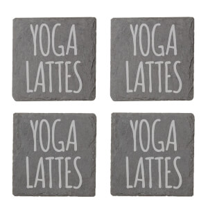 Yoga Lattes Engraved Slate Coaster Set
