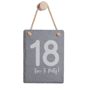 18 Time To Party! Engraved Slate Memo Board - Portrait