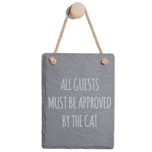 All The Guests Must Be Approved By The Cat Engraved Slate Memo Board - Portrait