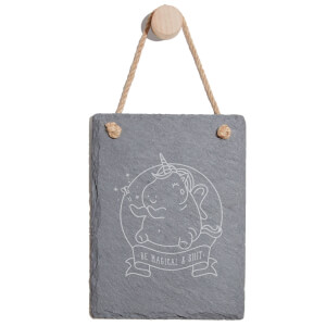 Be Magical & Shit Engraved Slate Memo Board - Portrait