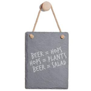 Beer = Hops, Hops = Plants, Beer = Salad Engraved Slate Memo Board - Portrait