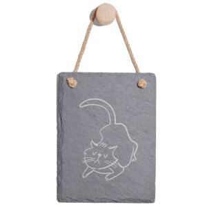 Cat Engraved Slate Memo Board - Portrait